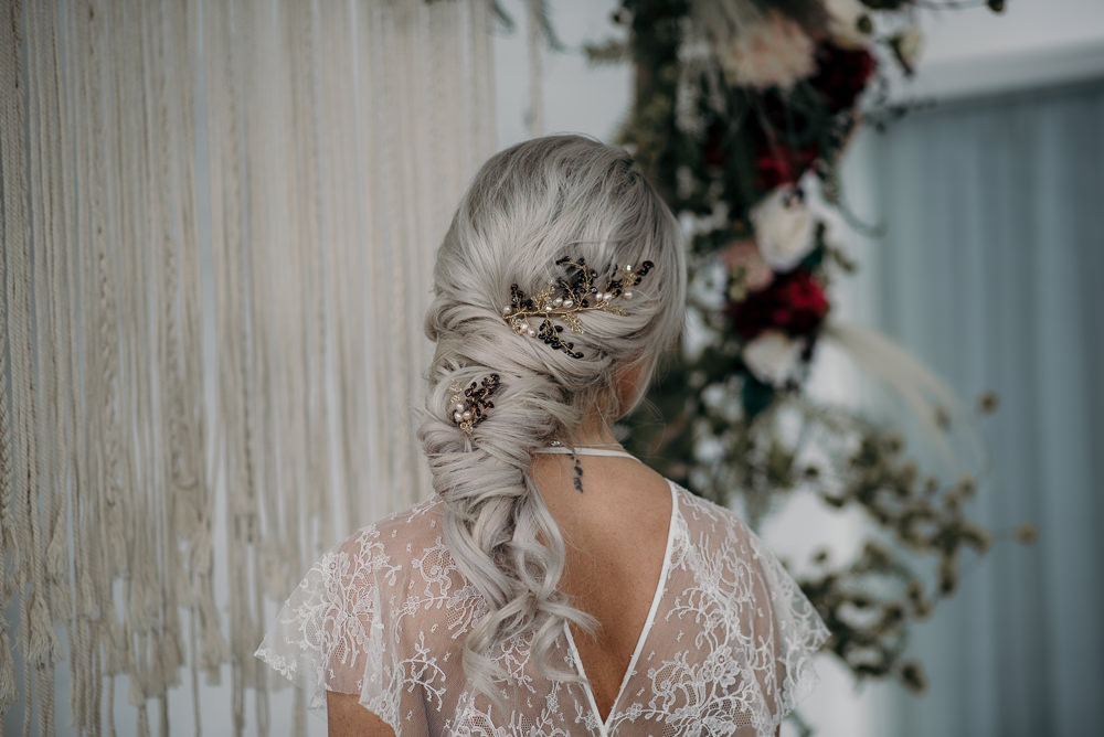 Bride Bridal Hair Style Up Do Plait Braid Accessory Unconventional Wedding Ideas Pierra G Photography
