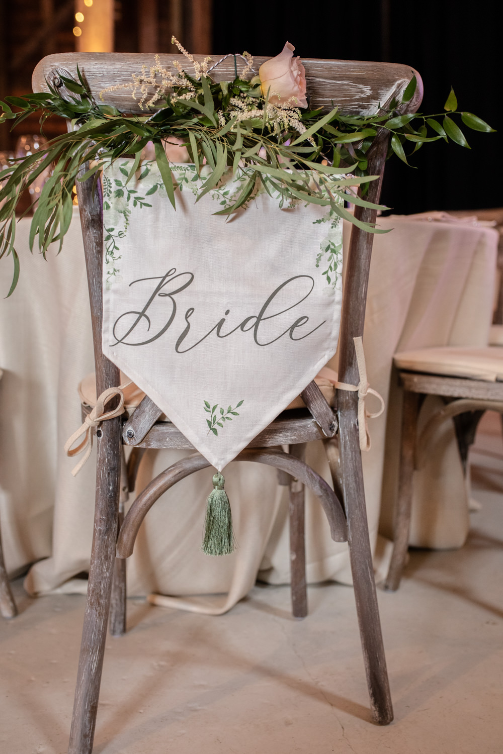Bride Chair Sign Foliage Banner Cross Back Chairs Watercolour Wedding Kerry Ann Duffy Photography