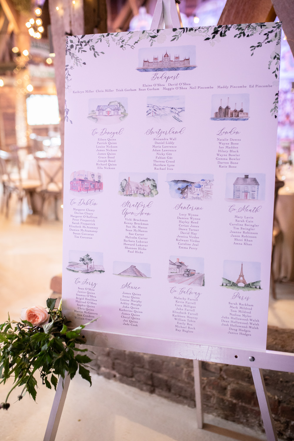 Table Plan Seating Chart Watercolour Wedding Kerry Ann Duffy Photography