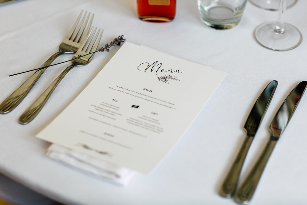 Menu Calligraphy Place Setting Barff Country House Wedding Sarah Beth Photo
