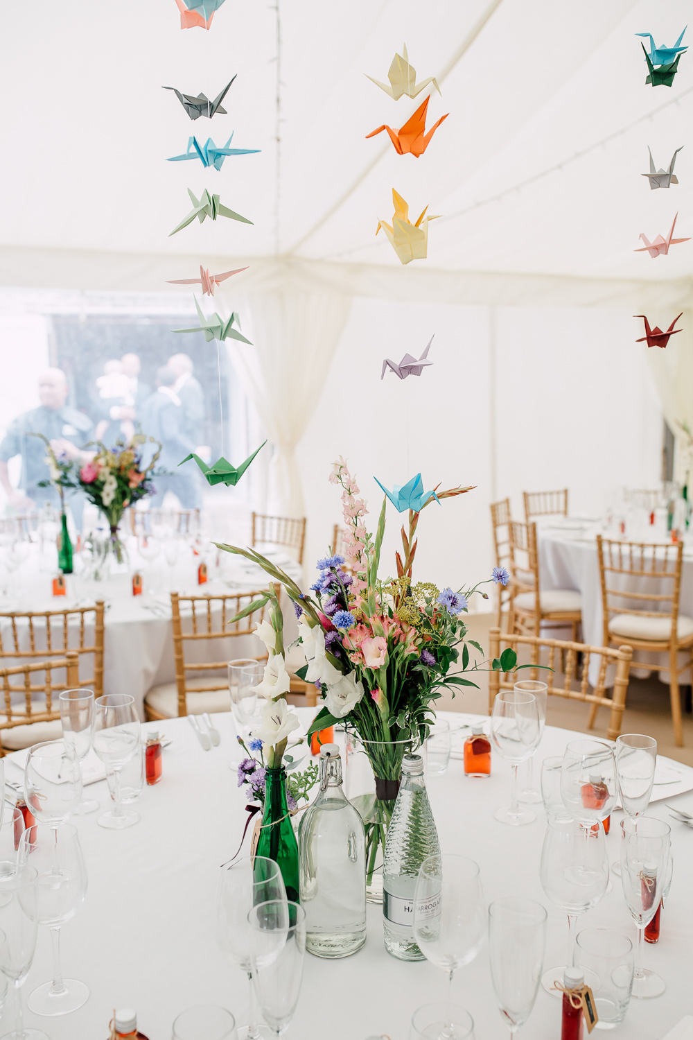 Marquee Origami Birds Paper Cranes Table Flowers Colourful Centrepiece Barff Country House Wedding Sarah Beth Photo