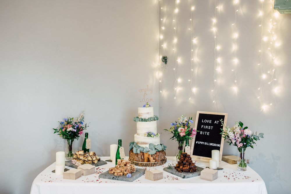 Cake Table Semi Naked Fairy Lights Barff Country House Wedding Sarah Beth Photo