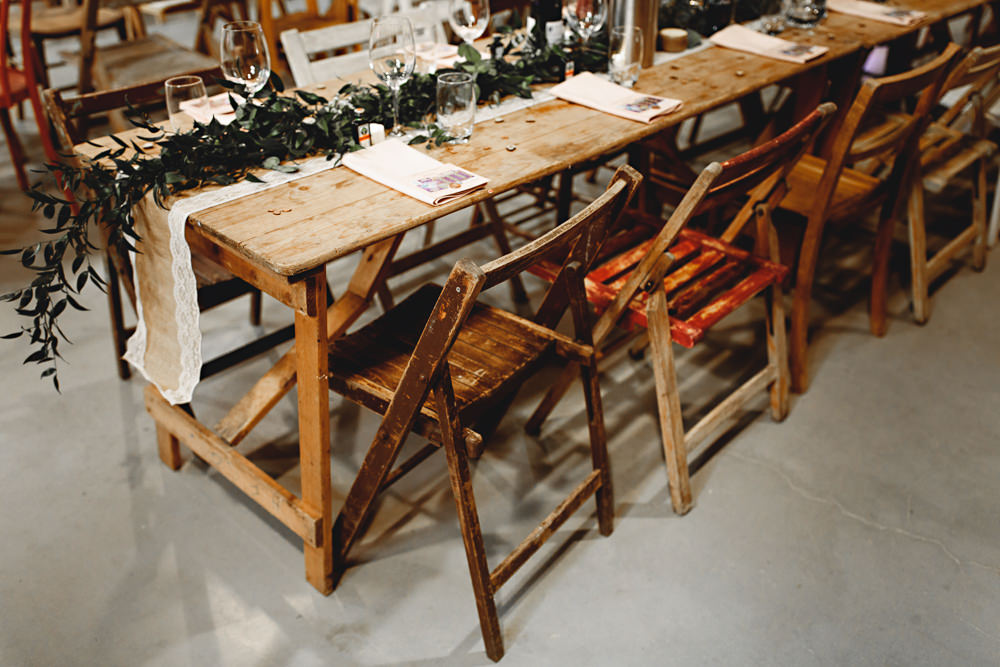 Long Tables Decor Decoration Greenery Foliage Swag Runner Garland Lace Hessian Burlap Fold Up Chairs Calke Abbey Wedding HBA Photography