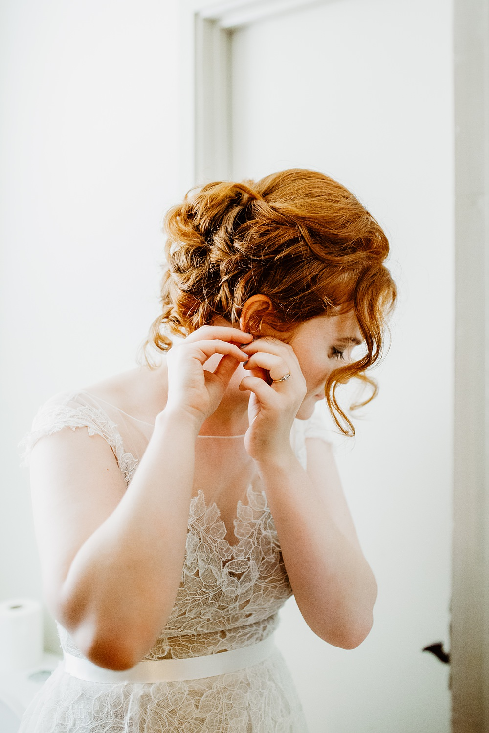 Bride Bridal Hair Style Up Do Canonteign Falls Wedding Holly Collings Photography