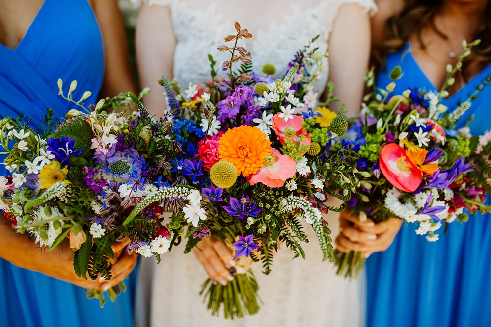 Bouquet Flowers Bride Bridal Poppy Craspedia Colourful Multicolour Canonteign Falls Wedding Holly Collings Photography