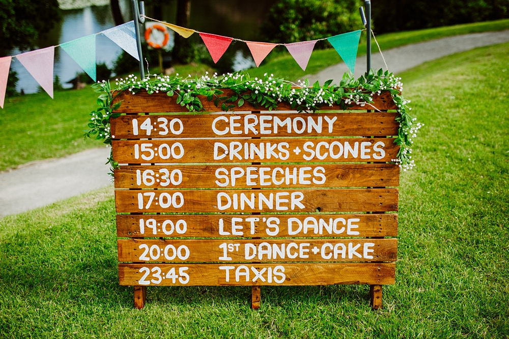 Wooden Sign Signage Signs Timings Canonteign Falls Wedding Holly Collings Photography