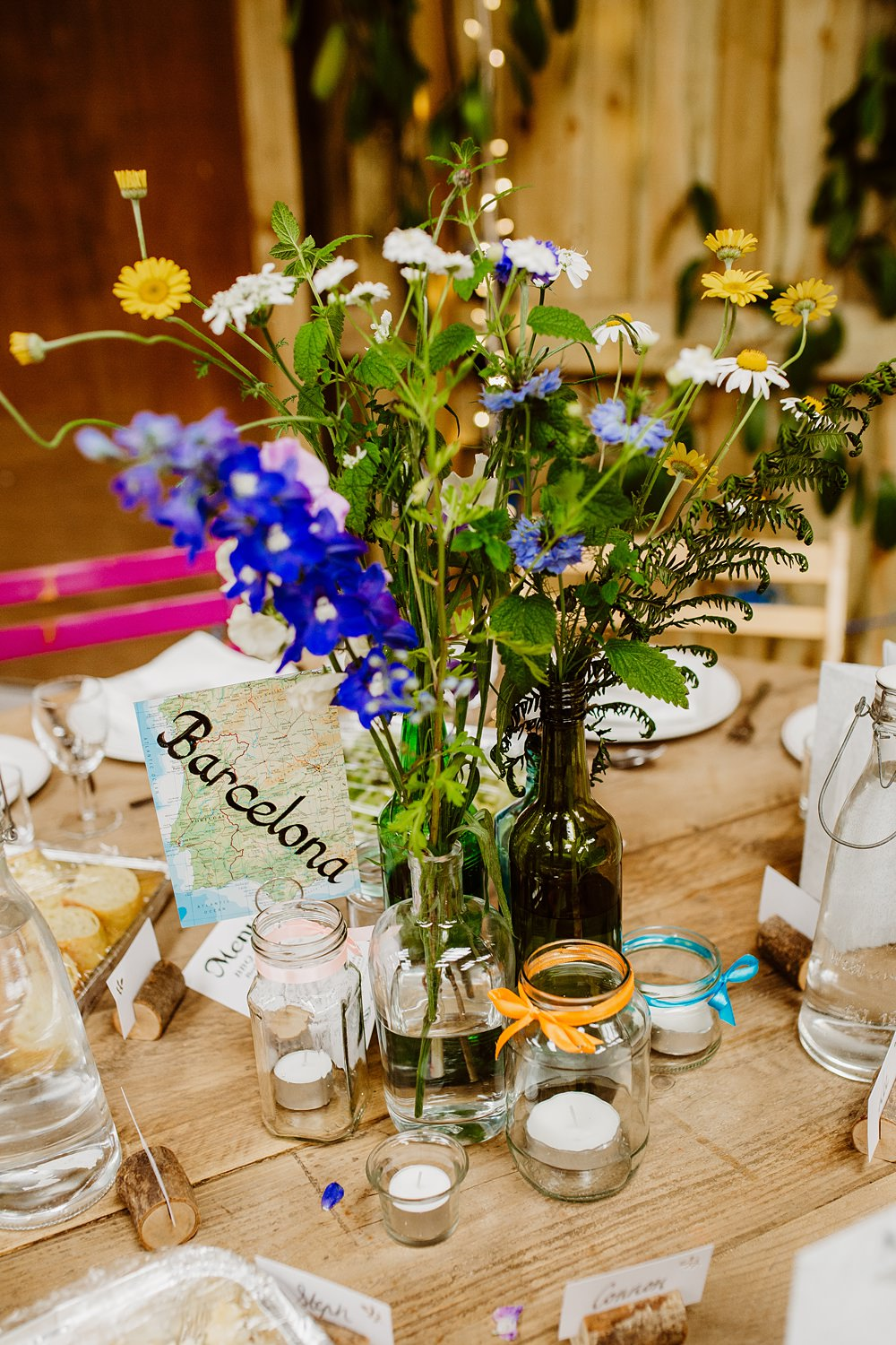 Wildflowers Flowers Bottles Centrepiece Decor Decoration Canonteign Falls Wedding Holly Collings Photography