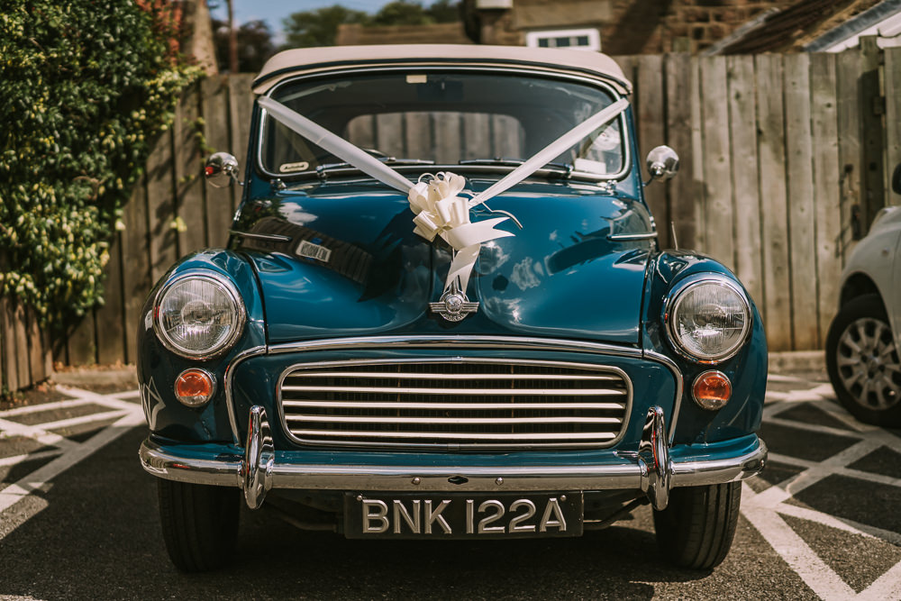 Car Transport Classic Morris Minor Crafty Village Hall Wedding Dot and Scolly Photography