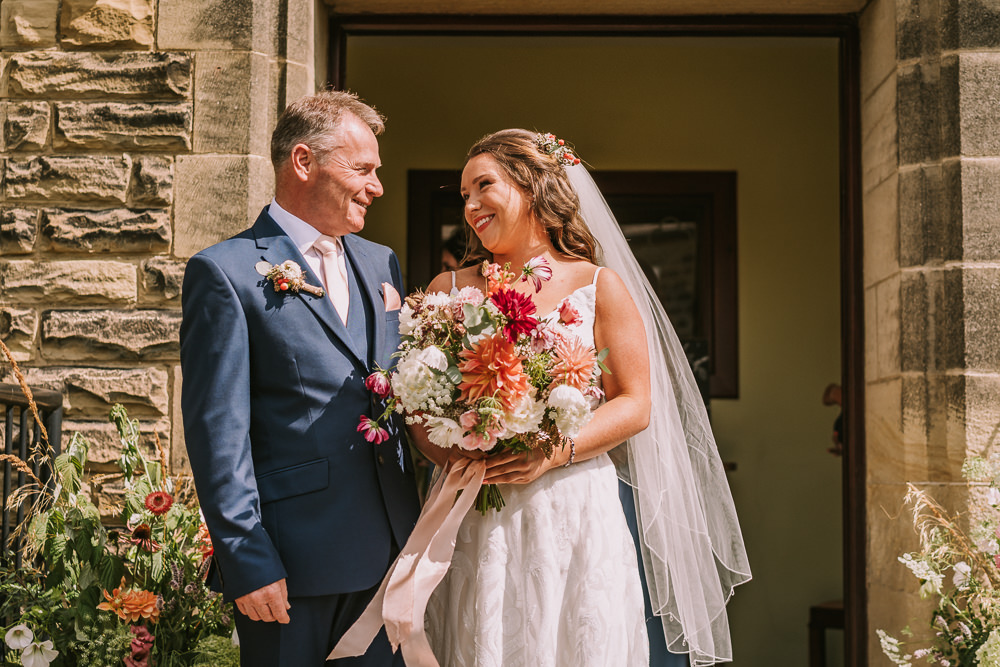 Bouquet Flowers Bride Bridal Coral Cream Dahlia Ribbon Crafty Village Hall Wedding Dot and Scolly Photography