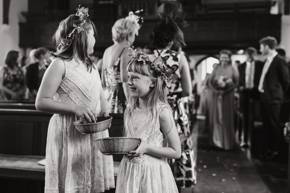 Flower Girls Crafty Village Hall Wedding Dot and Scolly Photography