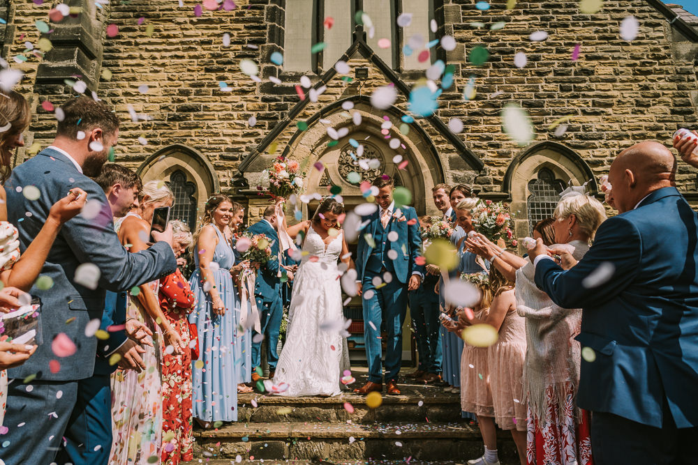 Confetti Throw Crafty Village Hall Wedding Dot and Scolly Photography