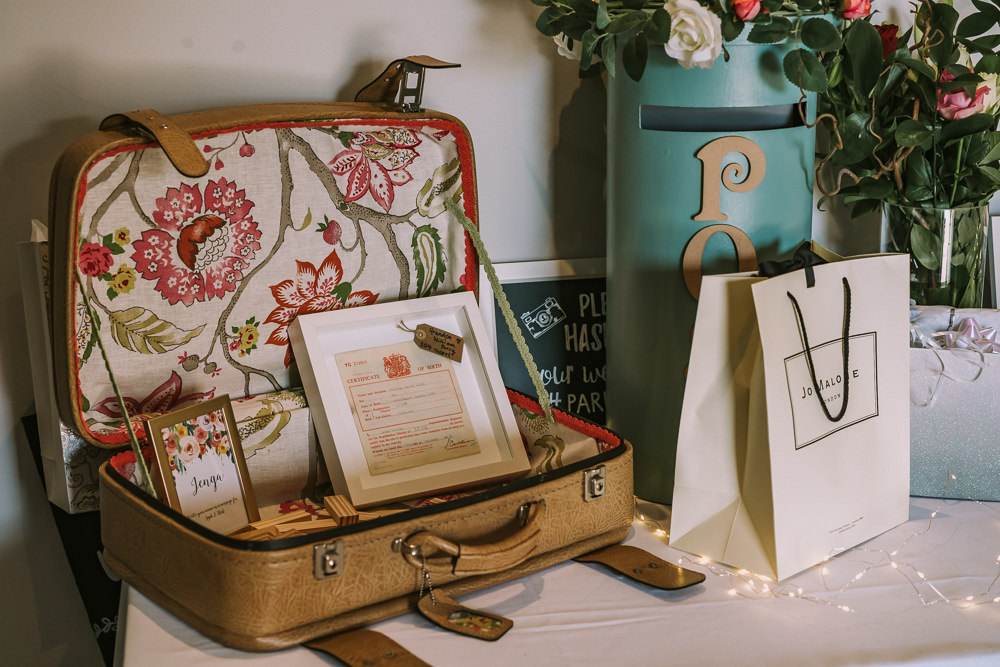 Suitcase Card Crafty Village Hall Wedding Dot and Scolly Photography