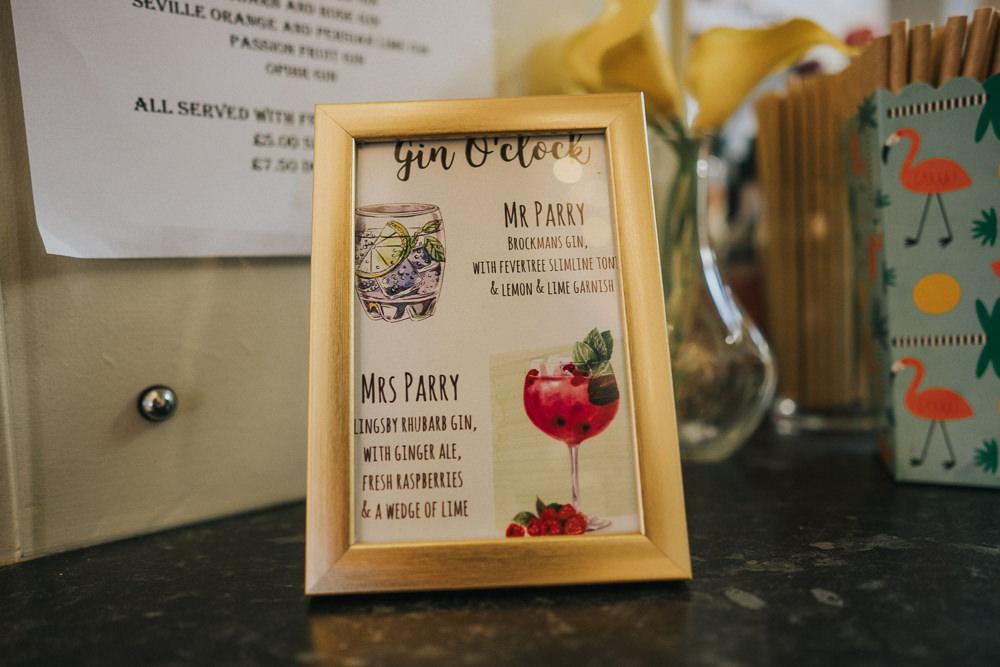 Gin Bar Crafty Village Hall Wedding Dot and Scolly Photography