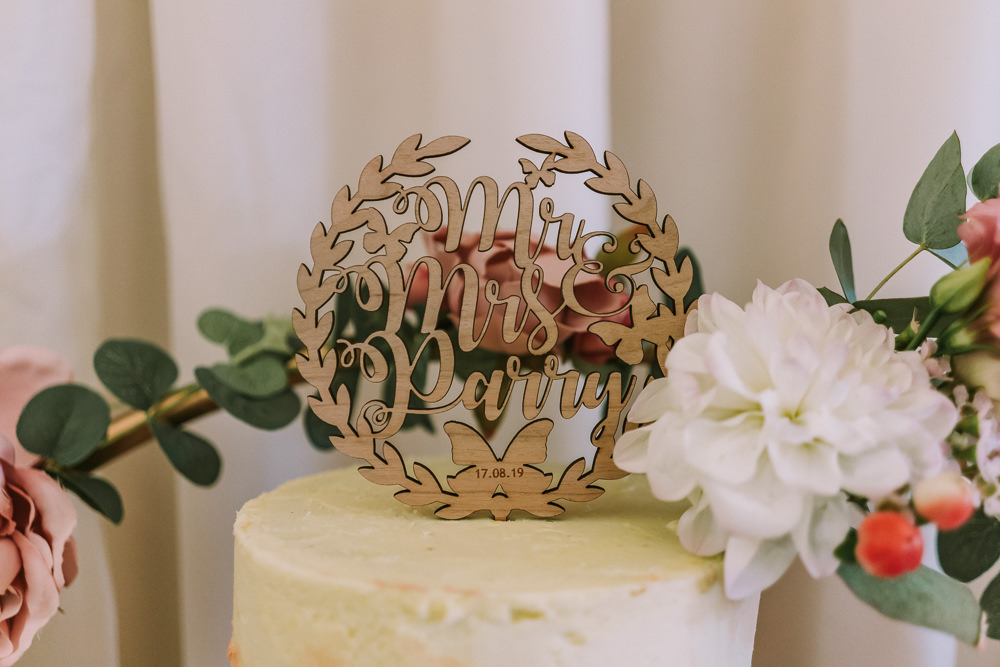 Laser Cut Wooden Cake Topper Crafty Village Hall Wedding Dot and Scolly Photography