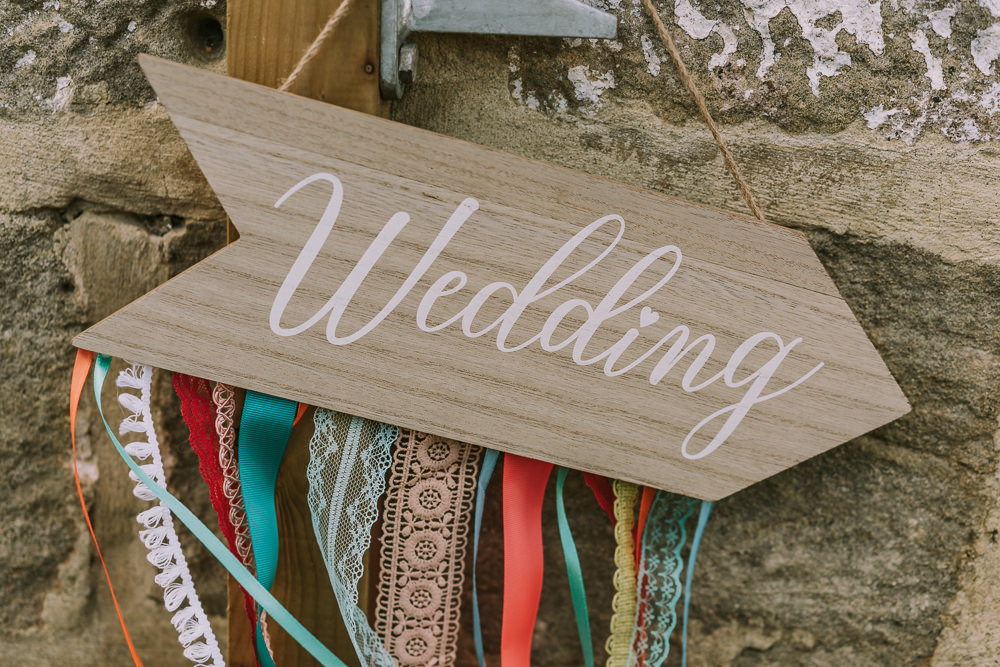 Sign Signs Signage Ribbons Crafty Village Hall Wedding Dot and Scolly Photography