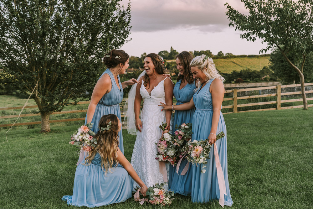 Bridesmaids Bridesmaid Dress Dresses Blue Crafty Village Hall Wedding Dot and Scolly Photography