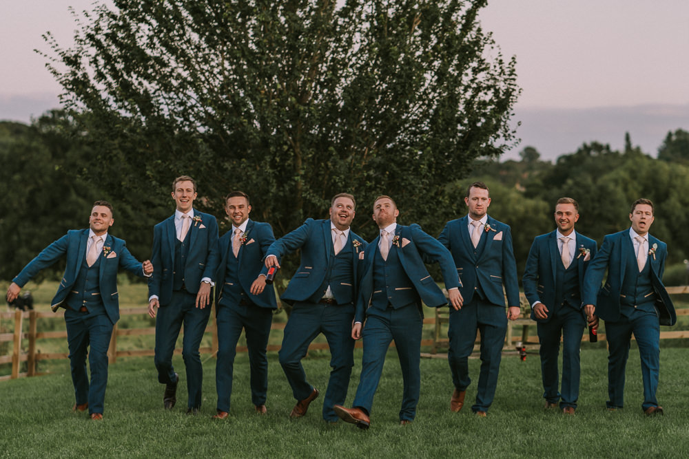 Groom Groomsmen Suit Blue Pink Tie Crafty Village Hall Wedding Dot and Scolly Photography