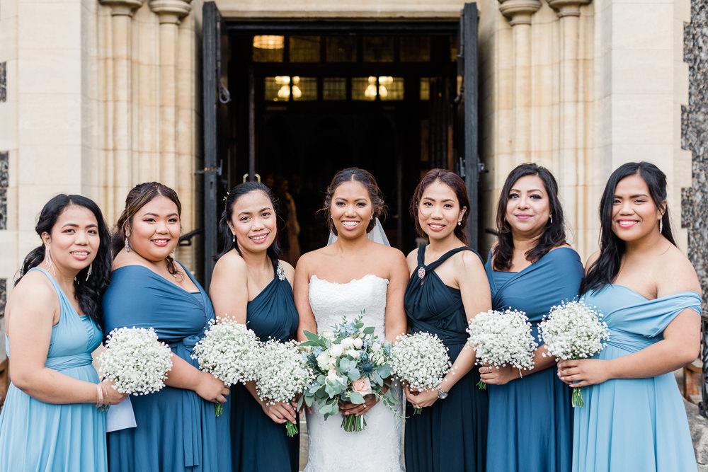 Bridesmaids Bridesmaid Dress Dresses Blue Gypsophila Bouquets Gate Street Barn Wedding Camilla J Hards
