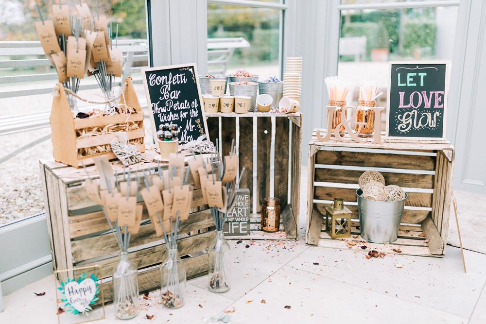 Confetti Bar Sparklers Wooden Crates Gate Street Barn Wedding Camilla J Hards