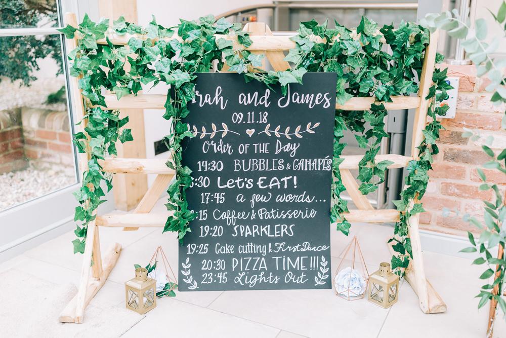 Chalk Black Board Sign Signs Signage Gate Street Barn Wedding Camilla J Hards