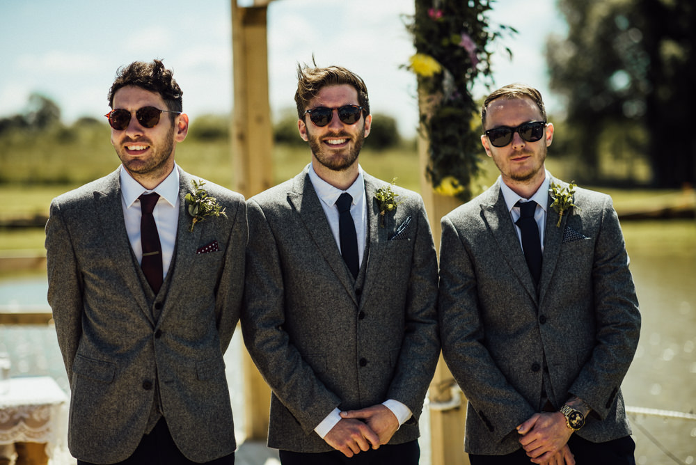 Groom Groomsmen Grey Suits Navy Chinos Burgundy Tie Long Furlong Farm Wedding Michelle Wood Photographer