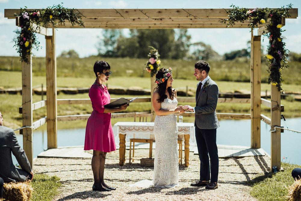 Outdoor Ceremony Pagoda Flowers Aisle Long Furlong Farm Wedding Michelle Wood Photographer