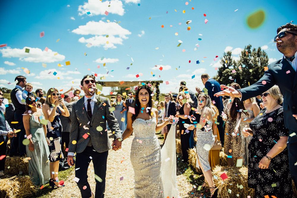 Confetti Throw Long Furlong Farm Wedding Michelle Wood Photographer