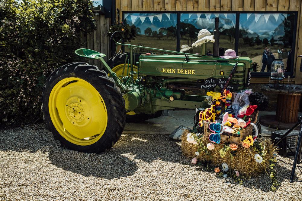 Tractor Photo Booth Props Long Furlong Farm Wedding Michelle Wood Photographer