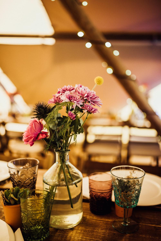 Rustic Wooden Tables Decor Decoration Bottle Flowers Long Furlong Farm Wedding Michelle Wood Photographer