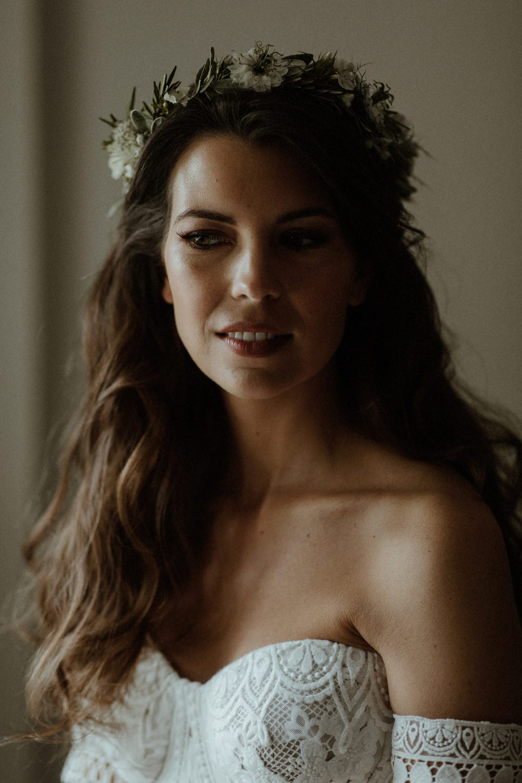 Bride Bridal Flower Crown Make Up Hair Waves Outdoor Wedding UK Olivia and Dan Photography