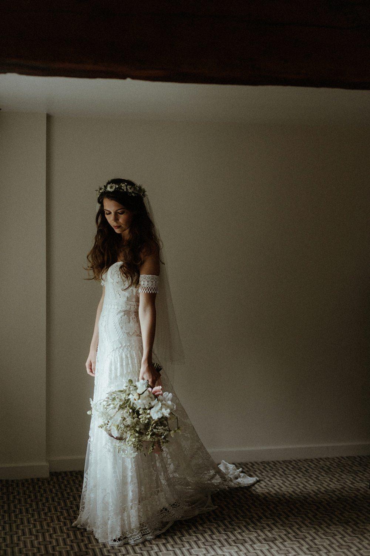 Bride Bridal Dress Gown Rue De Seine Clara Lace Off Shoulder Bardot Veil Boho Bohemian Outdoor Wedding UK Olivia and Dan Photography