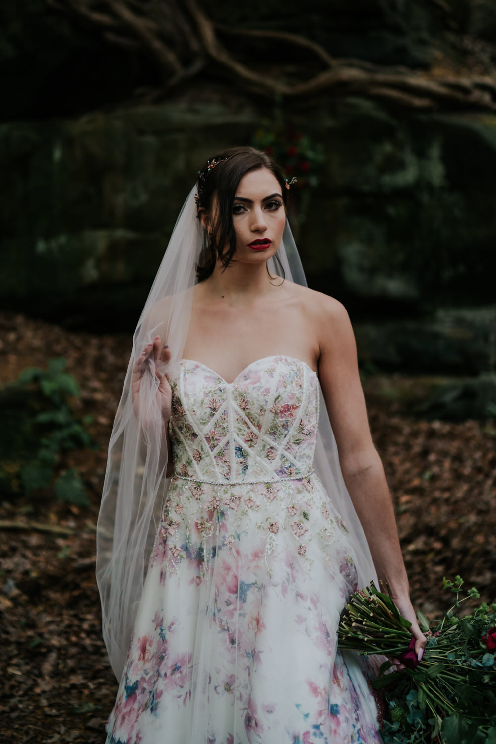 Dress Gown Bride Bridal Pink Floral Tulle Strapless Bodice Snow White Wedding Inspiration Joasis Photography