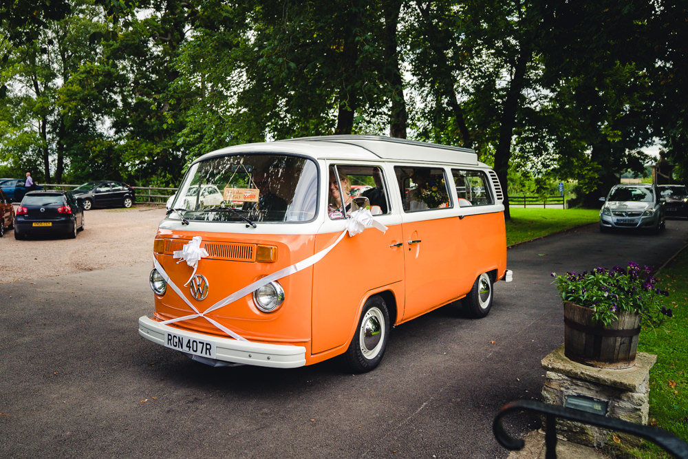 Orange VW Campervan Transport Birtsmorton Court Wedding The Dignums