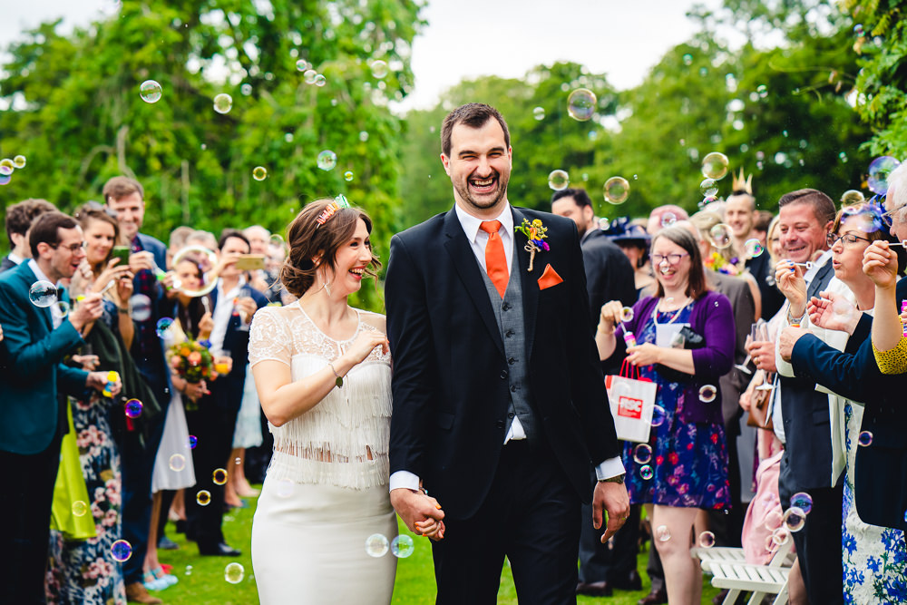 Bubble Confetti Groom Suit Orange Tie Waistcoat Birtsmorton Court Wedding The Dignums