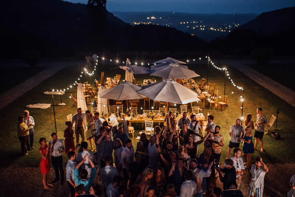 Festoon Lights Outdoor Parasols Chateau de Lacoste Wedding The Shannons Photography