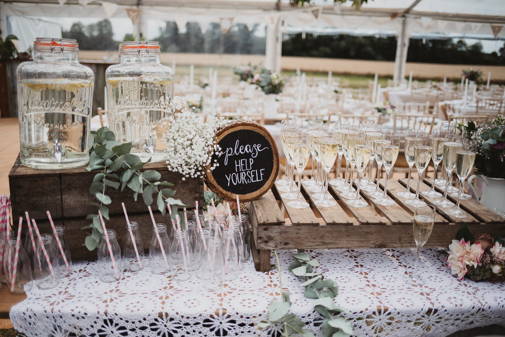 Bar Drinks Wooden Pallet Clear Marquee Wedding Sarah Brookes Photography