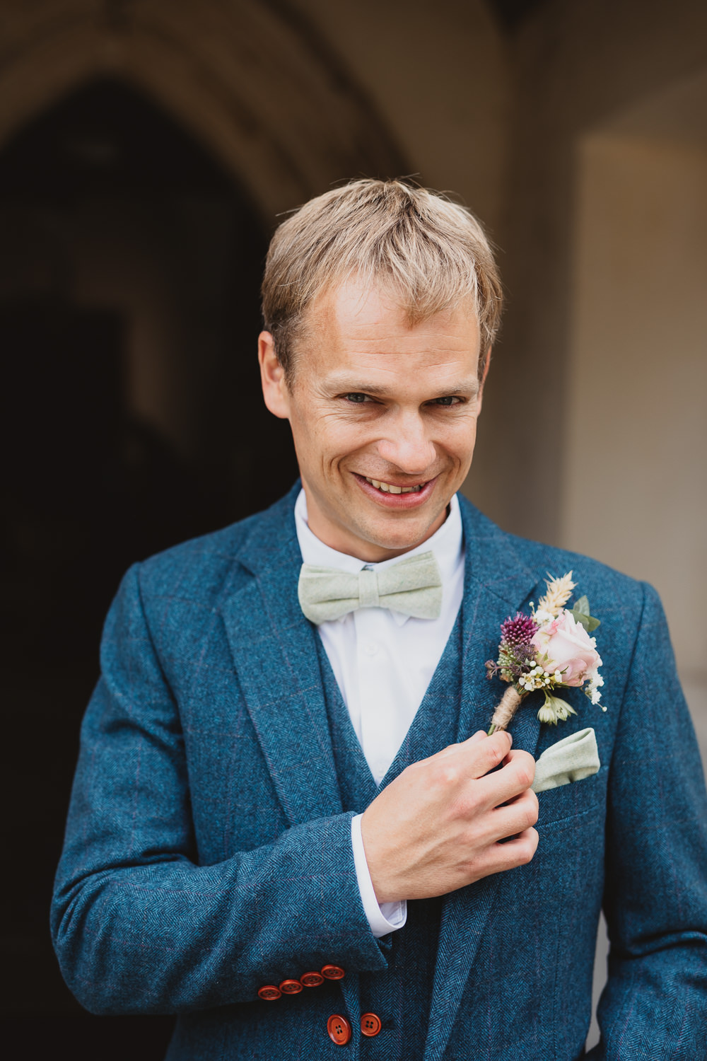 Groom Groomsmen Suits Navy Tweed Bow Tie Buttonhole Flowers Clear Marquee Wedding Sarah Brookes Photography
