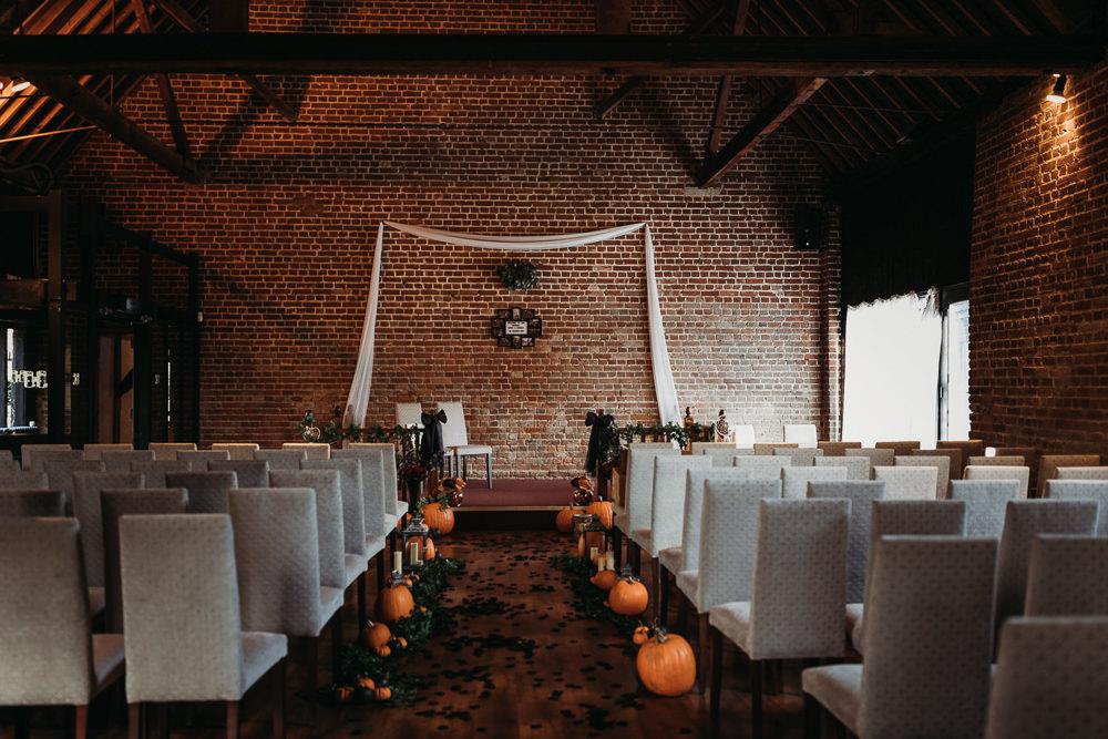 Aisle Ceremony Pumpkins Halloween Cooling Castle Barn Wedding Thyme Lane Photography