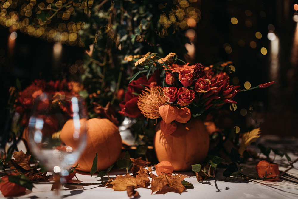 Halloween Autumn Centrepiece Candlabra Pumpkins Flowers Decor Table Cooling Castle Barn Wedding Thyme Lane Photography