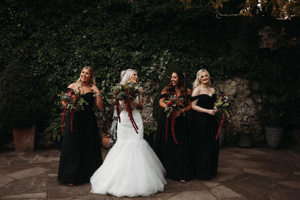 Bridesmaids Bridesmaid Dress Dresses Black Chiffon Cooling Castle Barn Wedding Thyme Lane Photography