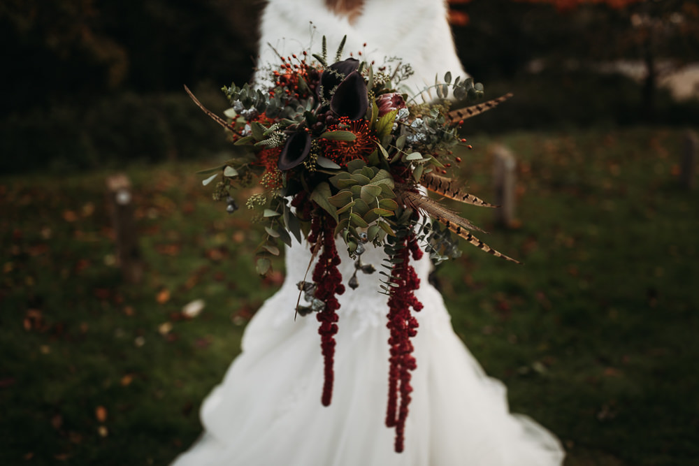 Bouquet Flowers Bride Bridal Feather Euclyptus Amaranthus Pincushion Red Berries Cooling Castle Barn Wedding Thyme Lane Photography