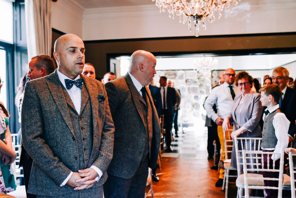 Groom Suit Tweed Bow Tie Pocket Square Glazebrook House Wedding Harriet Bird Photography