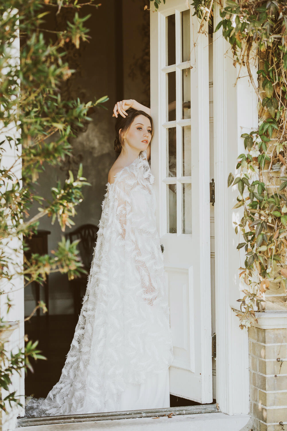 Bride Bridal Dress Gown Feather Embroidered Cape Willowby by Watters Green Gold Wedding Ideas Samantha Davis Photography