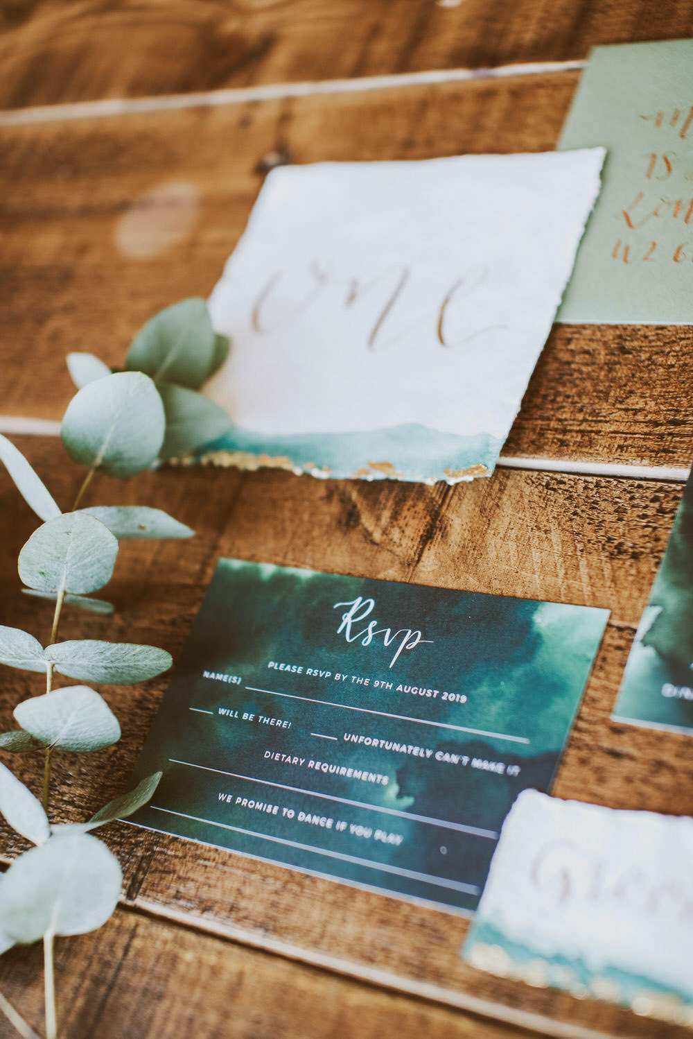 Stationery Suite Invitations Invite Flat Lay Calligraphy Green Gold Wedding Ideas Samantha Davis Photography