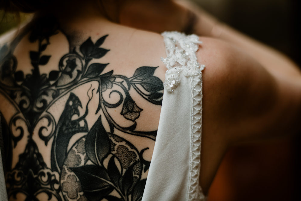 Bride Bridal Tattoo Indie Autumn Wedding Kazooieloki Photography
