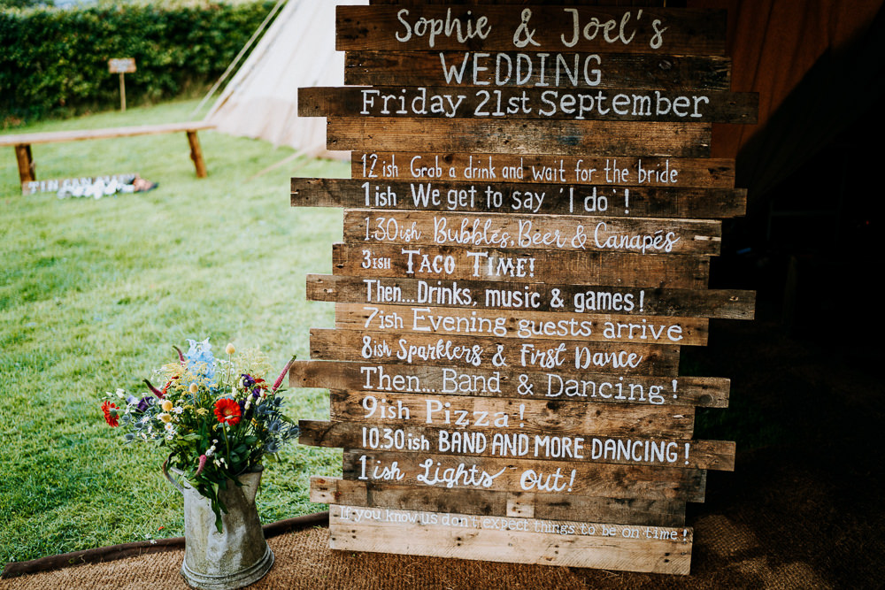 Wooden Signs Sign Signage Order of the Day Individual Tipi Wedding Bridgwood Wedding Photography