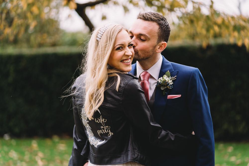 Bride Bridal Moon Leather Jacket Personalised Painted Maidens Barn Wedding Sophie Oldhamstead Photography