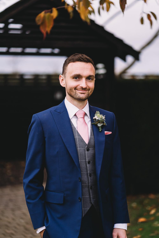 Groom Groomsmen Suit Waistcoat Blue Pink Tie Maidens Barn Wedding Sophie Oldhamstead Photography