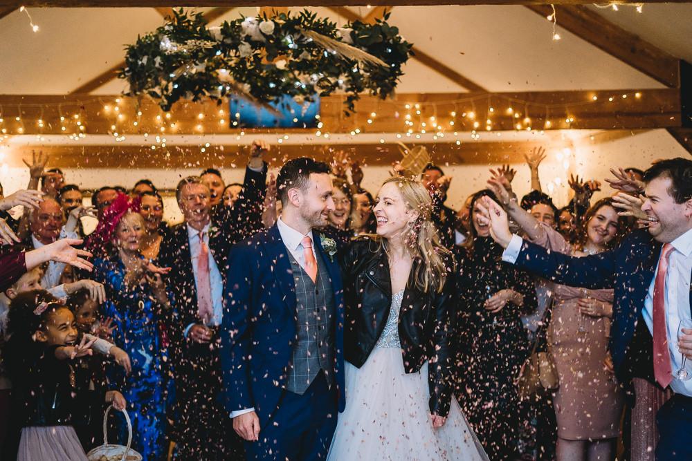 Confetti Throw Maidens Barn Wedding Sophie Oldhamstead Photography