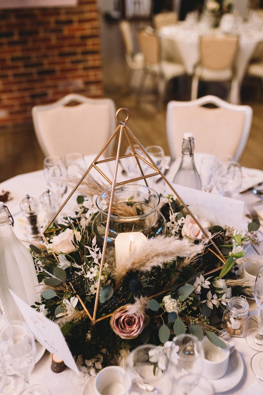 Terrarium Centrepiece Decor Flowers Maidens Barn Wedding Sophie Oldhamstead Photography